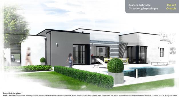 plan maison contemporaine plain pied toit plat - mc immo