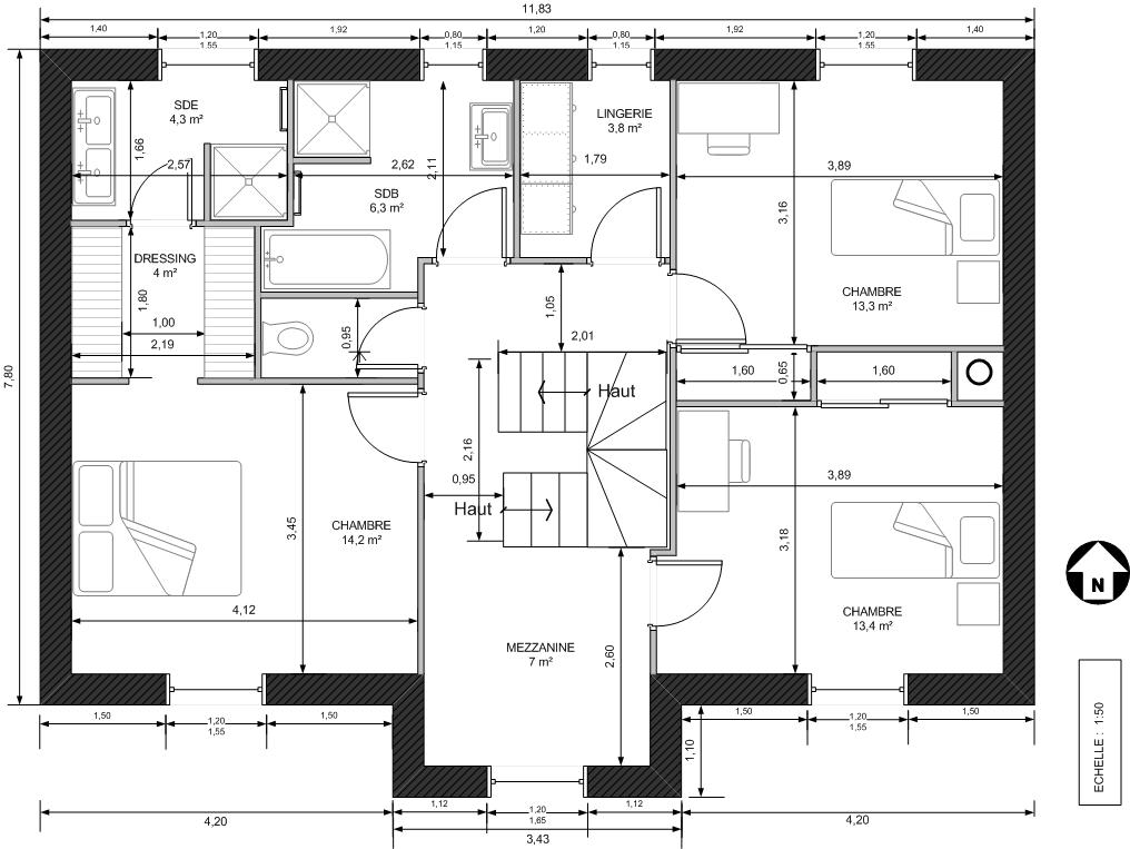 Plan maison tage mc immo for Plan maison futuriste