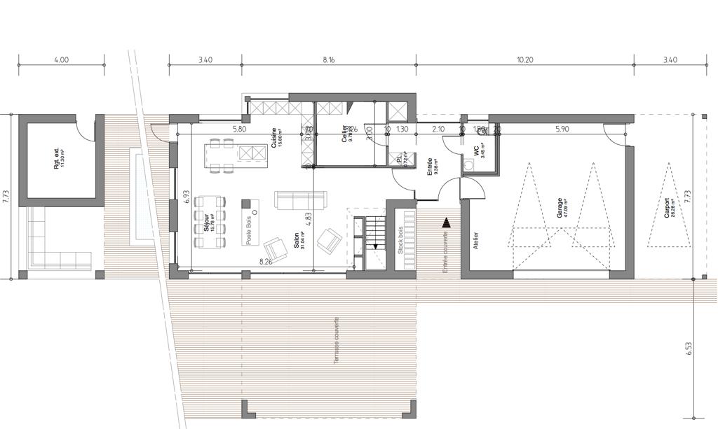 plan de maison en cube