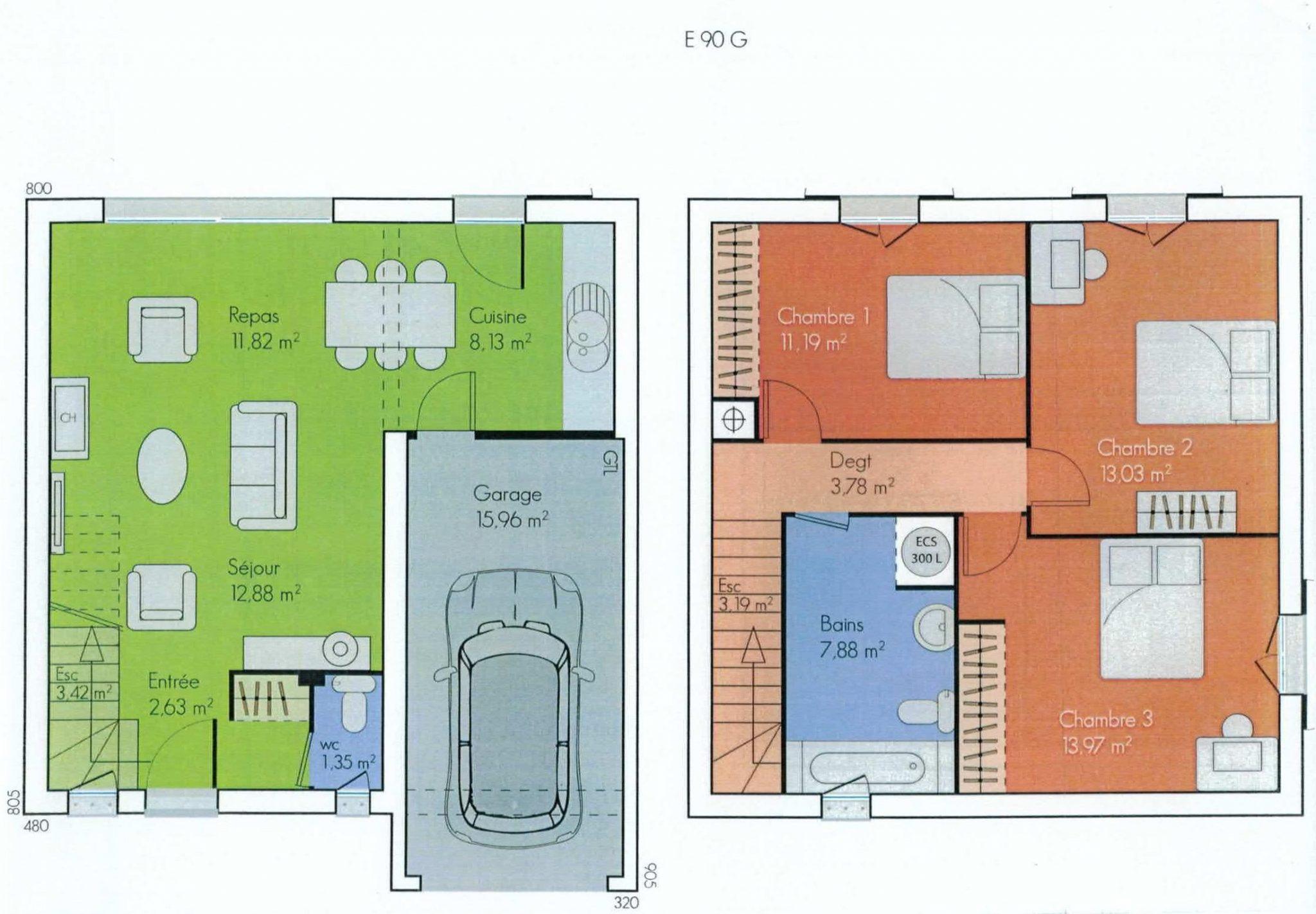 plan de maison etage mc immo. Black Bedroom Furniture Sets. Home Design Ideas