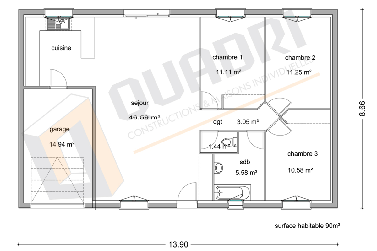 plan maison 90m2 ventana blog. Black Bedroom Furniture Sets. Home Design Ideas