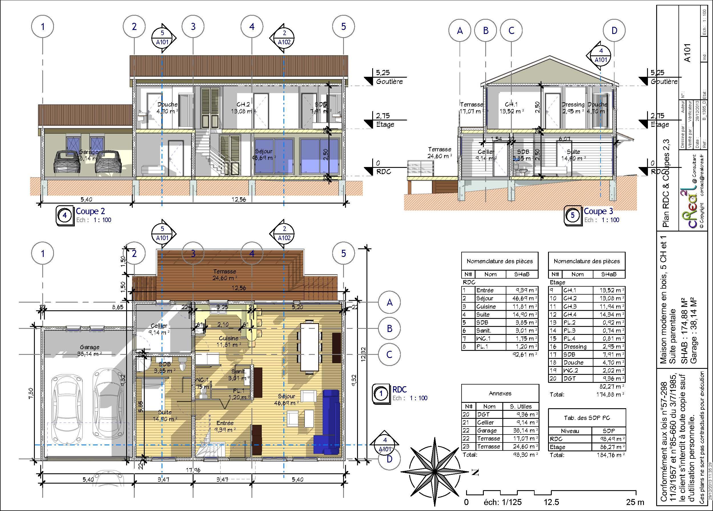 plan de maison contemporaine 4 chambres