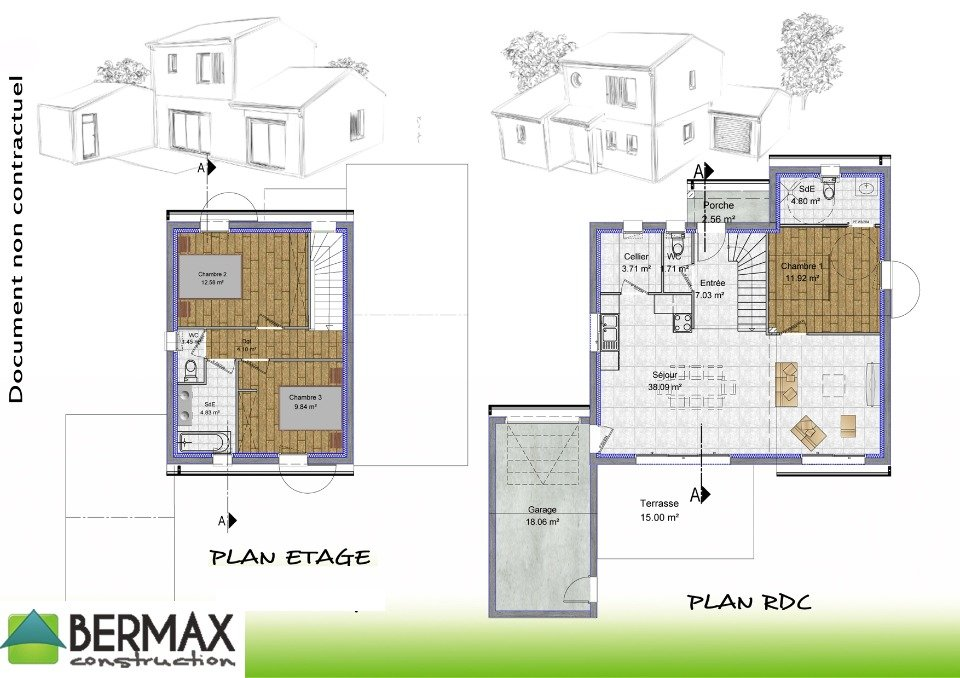 Modele maison etage plan mc immo for Plan maison contemporaine a etage