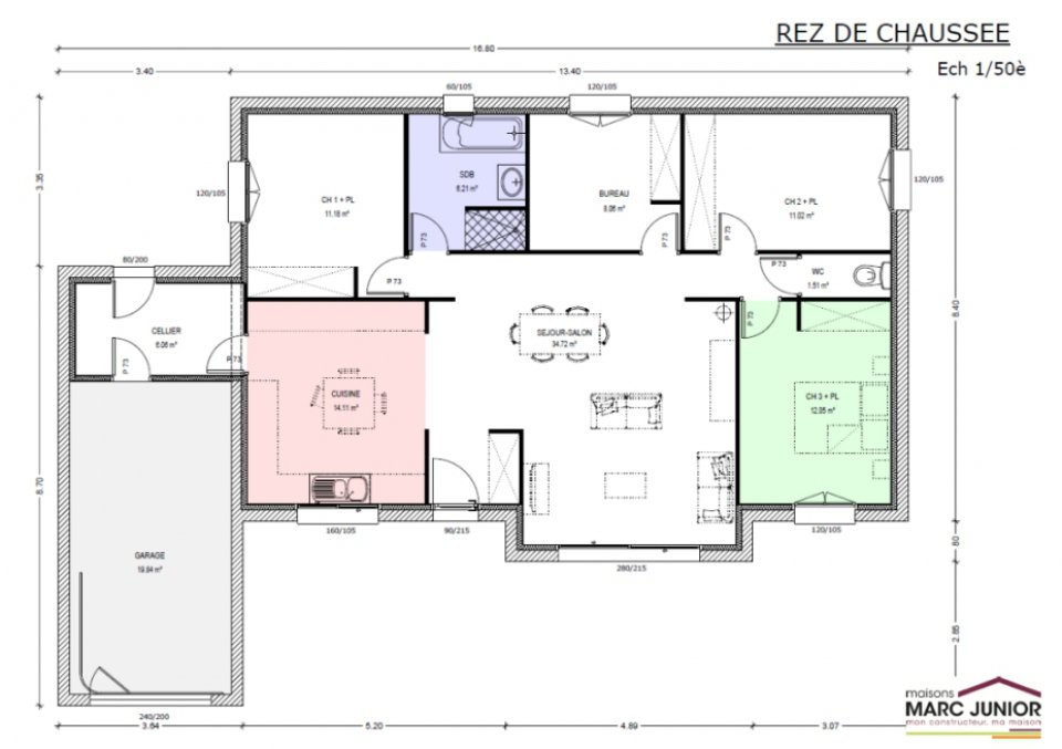 Exemple plan de maison plain pied mc immo for Modele plan de maison