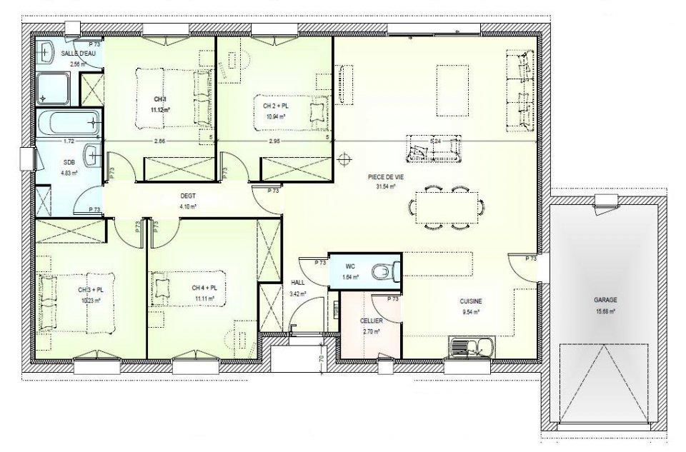 Plan de maison moderne plain pied 4 chambres mc immo for Plan maison neuve 4 chambres