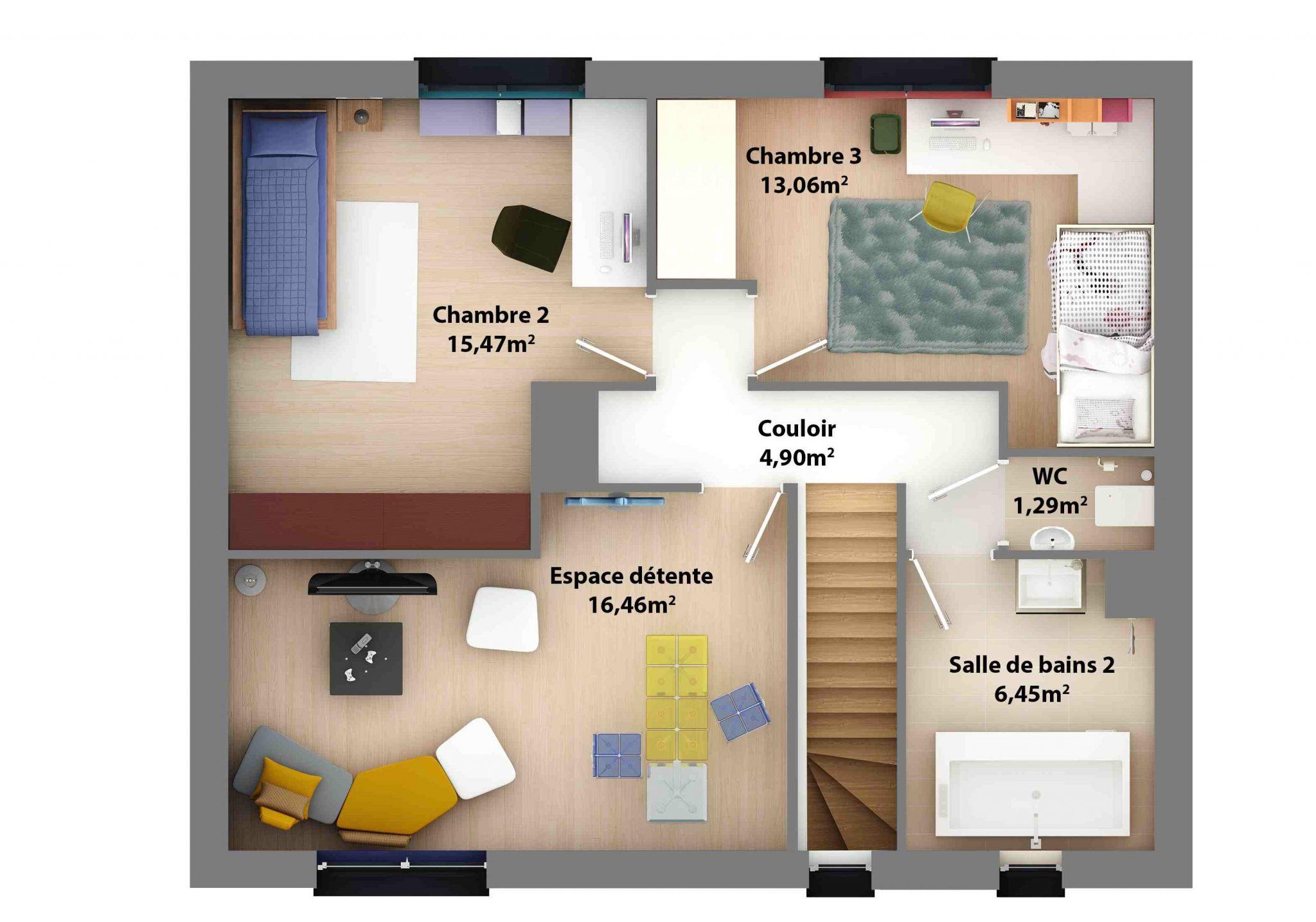 Mod le maison moderne tage mc immo - Plan maison 50m2 2 chambres ...