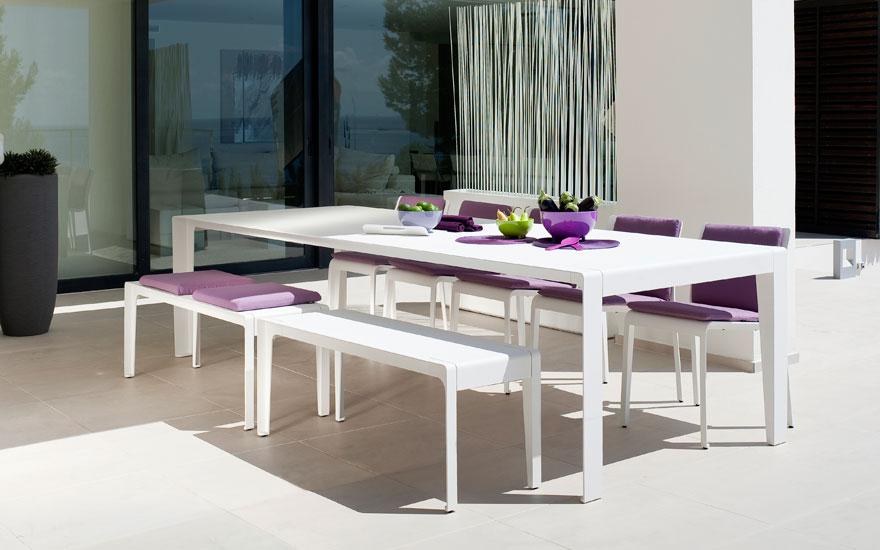 Table jardin aluminium blanc - Mc immo