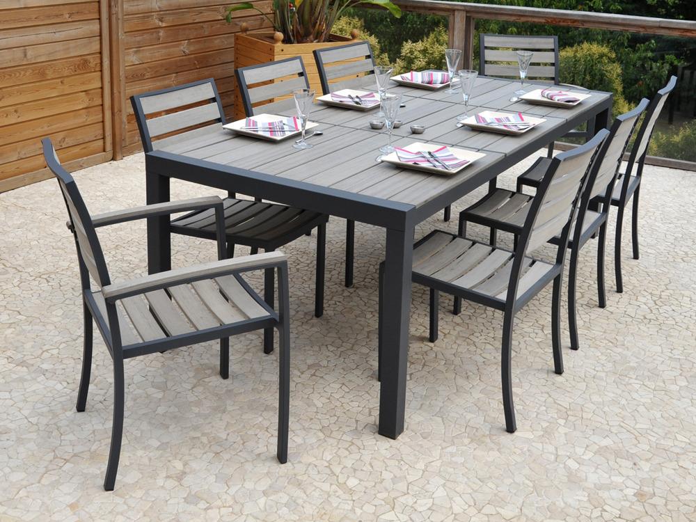 Table de jardin avec rallonge en resine - Mc immo